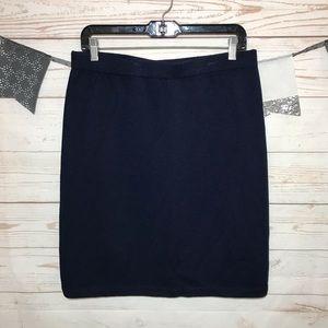 St. John Navy Stretch Ribbed Midi Skirt Size 12